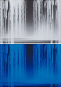 falling water<br/>[bottom image: under ultraviolet light] by hiroshi senju